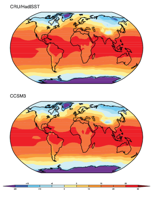 CCSM3 Annual Land & Sea Temperature Actual (top) vs Model (bottom)
