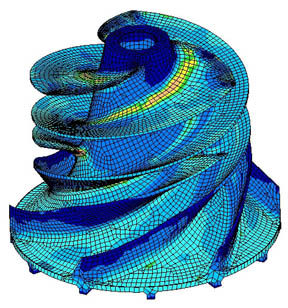 Stress analysis in an impeller