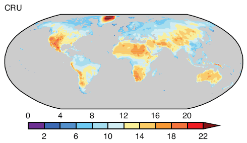 Annual average of diurnal temperature range over land