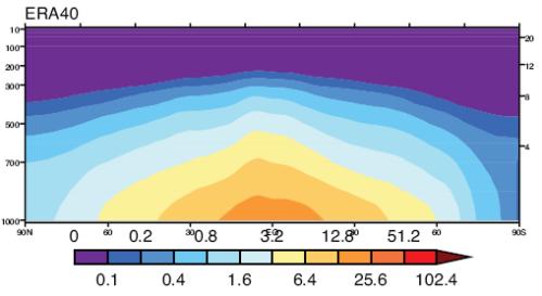 Specific Humidity vs Latitude and Altitude, from ERA40