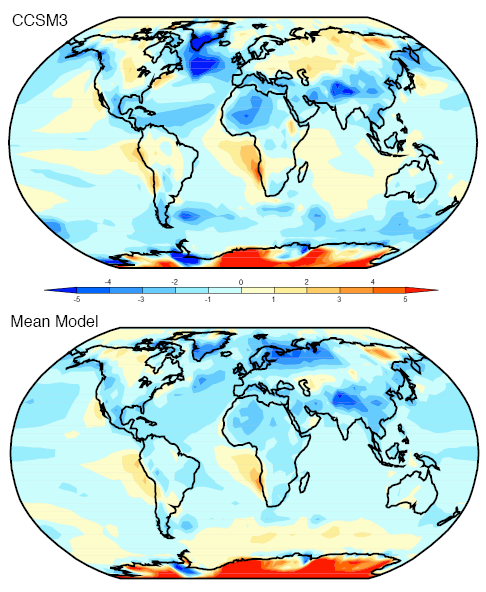 Annual Temperatures - Simulated minus observed for CCSM3 and the ensemble