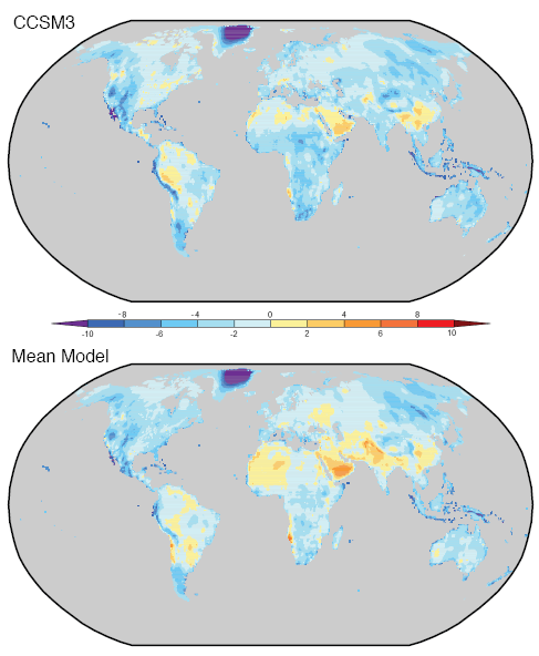 Diurnal temperature range over land - Actual less Model for CCSM3 and ensemble